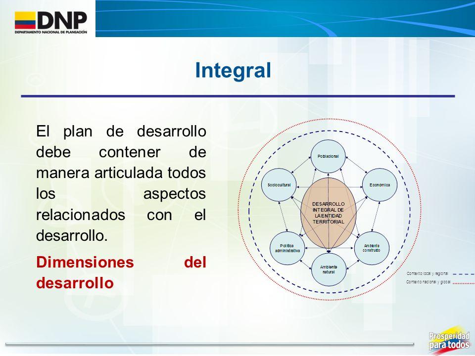 Integral El plan de desarrollo debe contener de manera articulada todos los aspectos relacionados con el desarrollo.