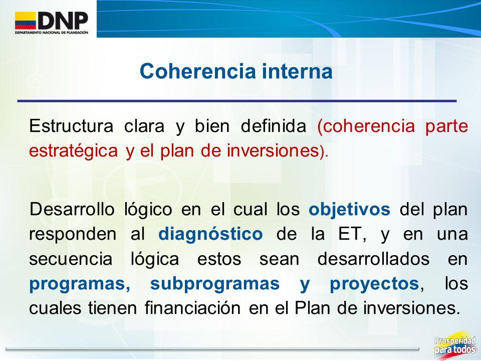 Coherencia interna Estructura clara y bien definida (coherencia parte estratégica y el plan de inversiones).