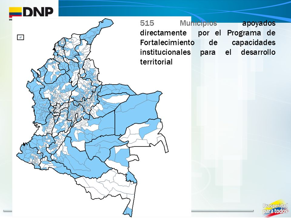 515 Municipios apoyados directamente por el Programa de Fortalecimiento de capacidades institucionales para el desarrollo territorial