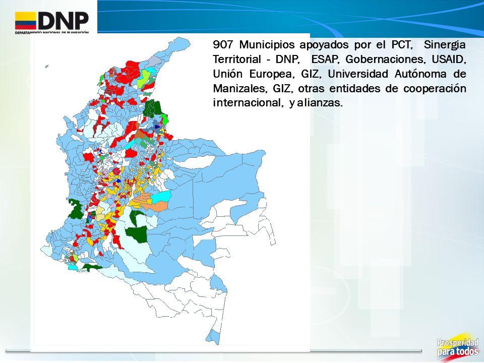 907 Municipios apoyados por el PCT, Sinergia Territorial - DNP, ESAP, Gobernaciones, USAID, Unión Europea, GIZ, Universidad Autónoma de Manizales, GIZ, otras entidades de cooperación internacional, y alianzas.