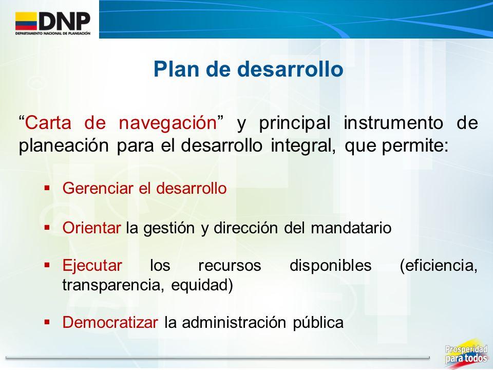 Plan de desarrollo Carta de navegación y principal instrumento de planeación para el desarrollo integral, que permite: