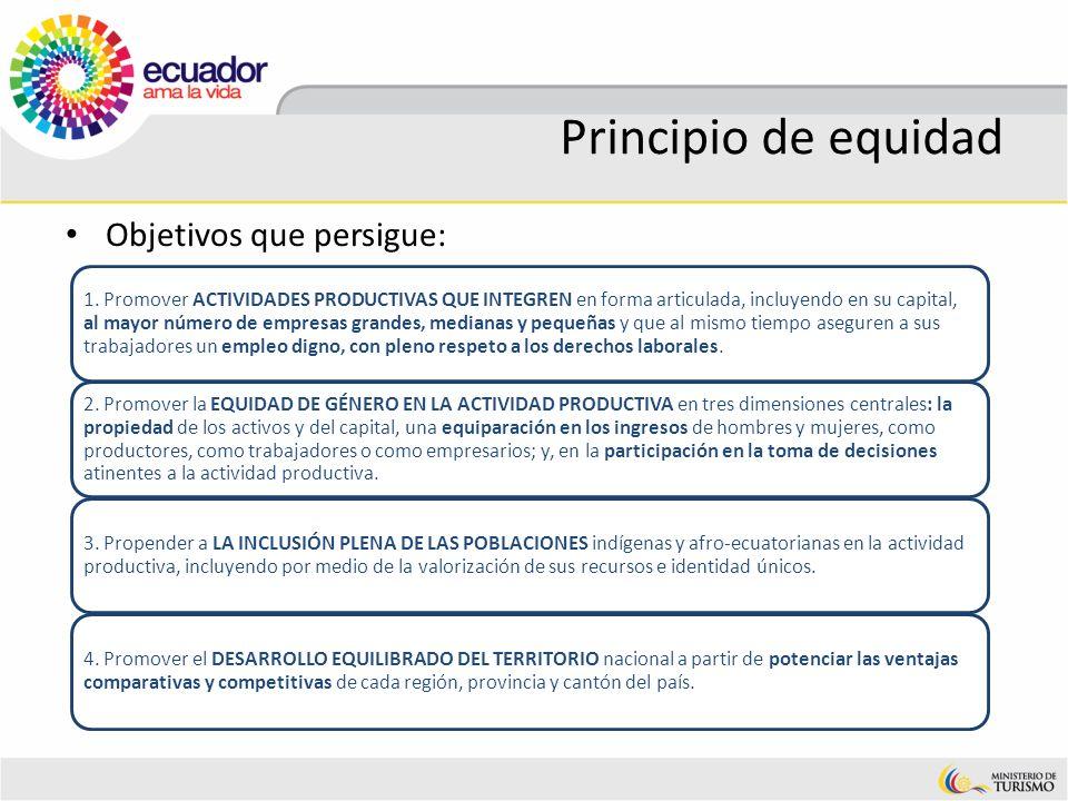 Principio de equidad Objetivos que persigue: