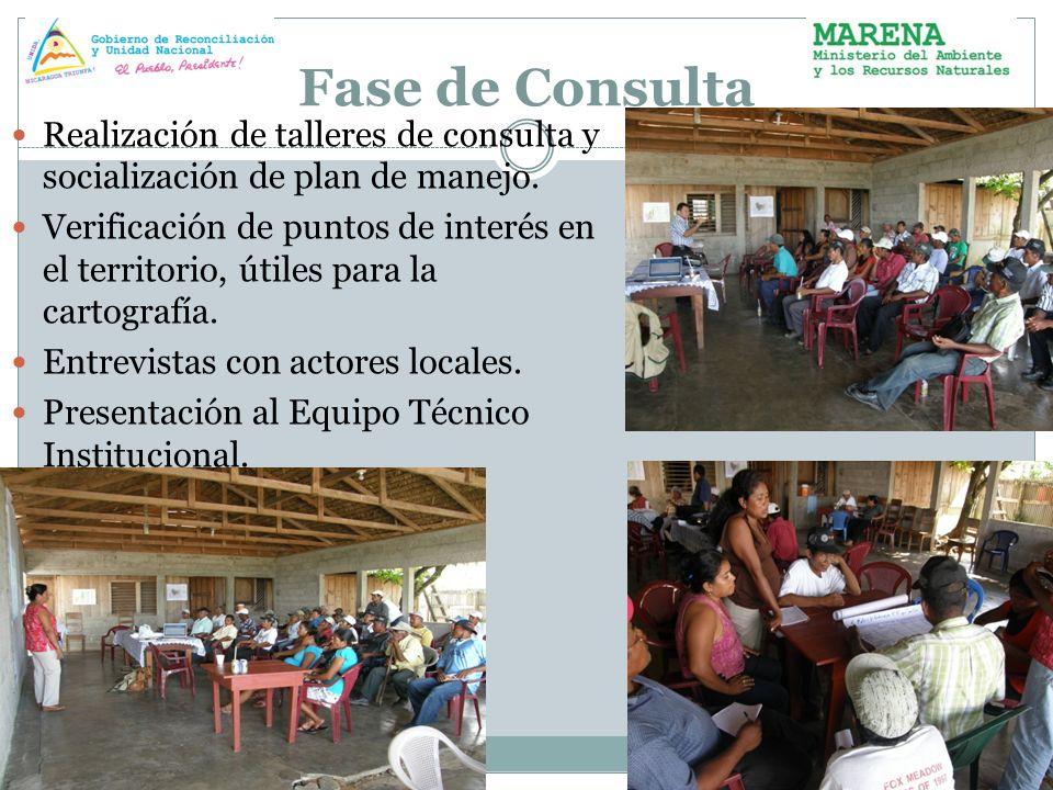 Fase de Consulta Realización de talleres de consulta y socialización de plan de manejo.