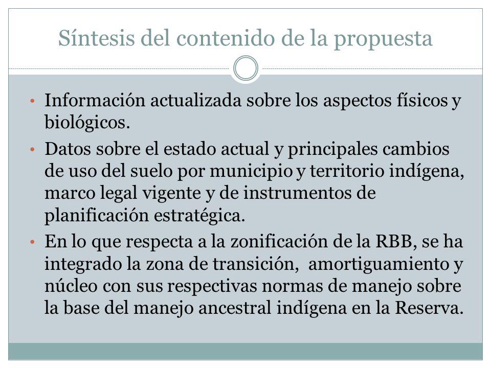 Síntesis del contenido de la propuesta