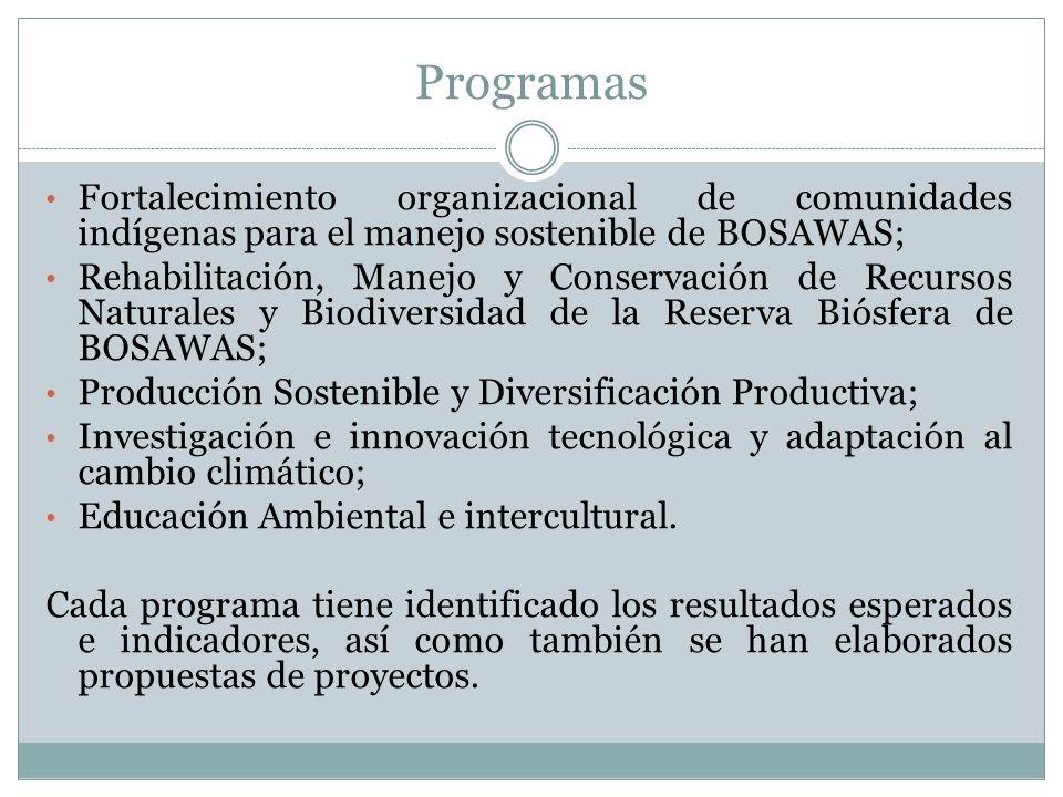 Programas Fortalecimiento organizacional de comunidades indígenas para el manejo sostenible de BOSAWAS;