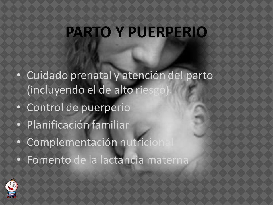 PARTO Y PUERPERIO Cuidado prenatal y atención del parto (incluyendo el de alto riesgo). Control de puerperio.