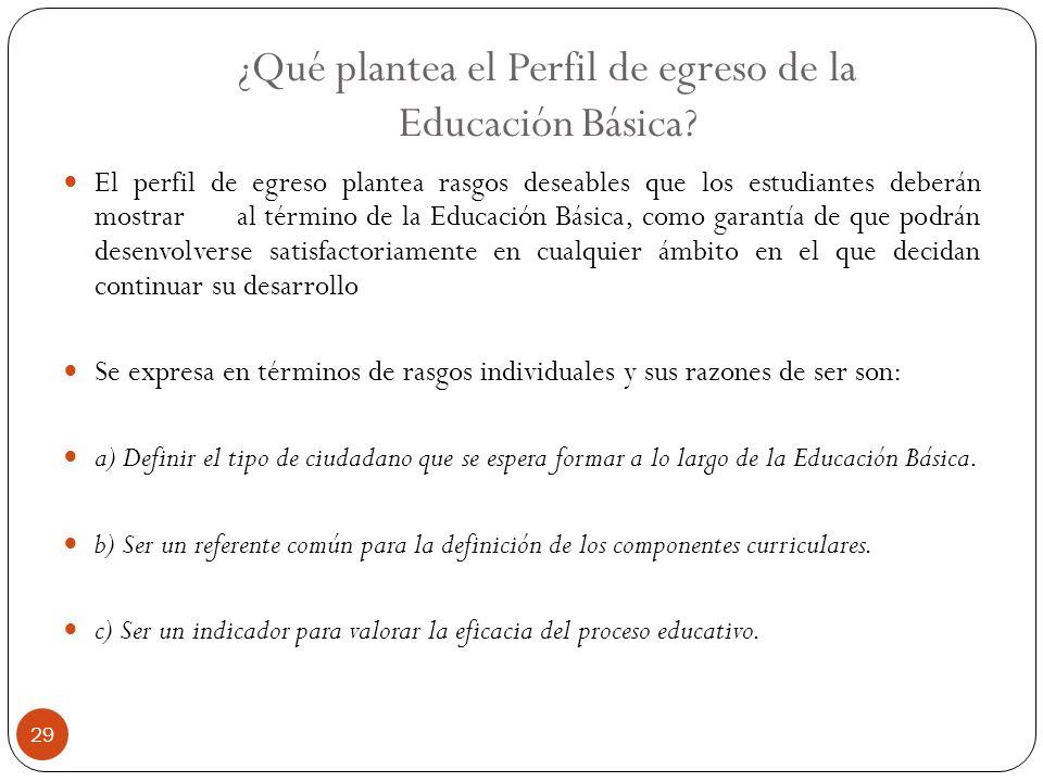 ¿Qué plantea el Perfil de egreso de la Educación Básica