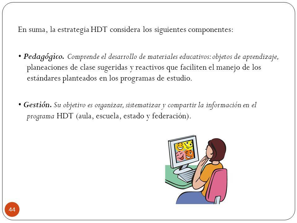 En suma, la estrategia HDT considera los siguientes componentes: