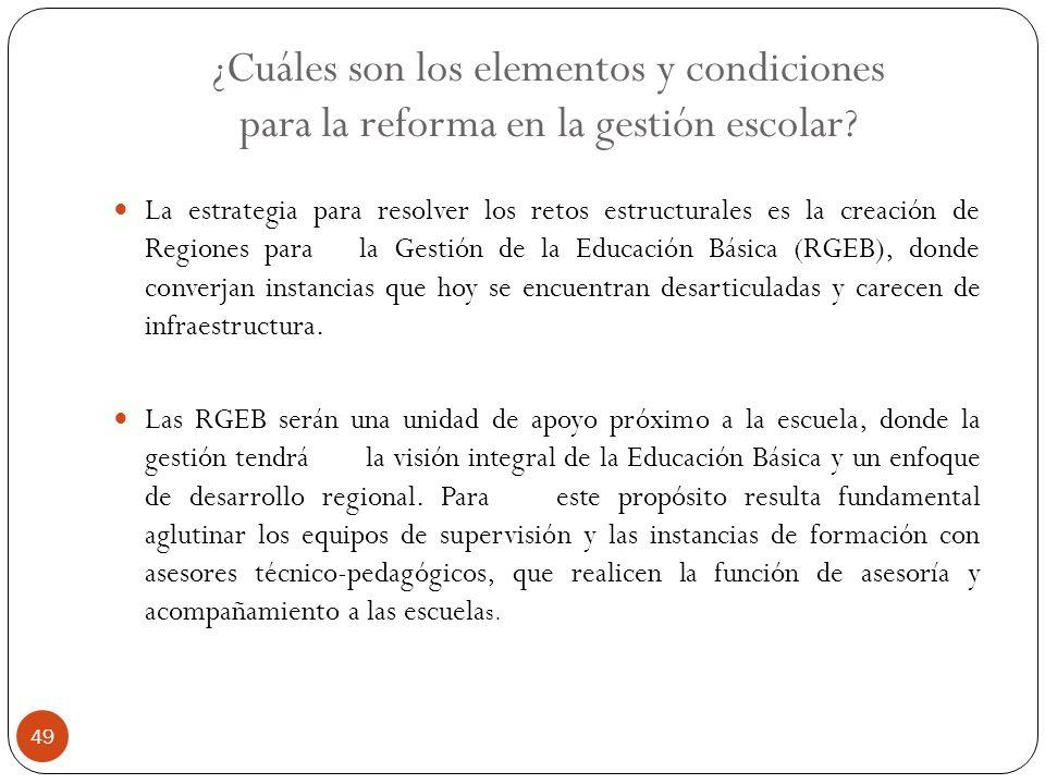 ¿Cuáles son los elementos y condiciones para la reforma en la gestión escolar