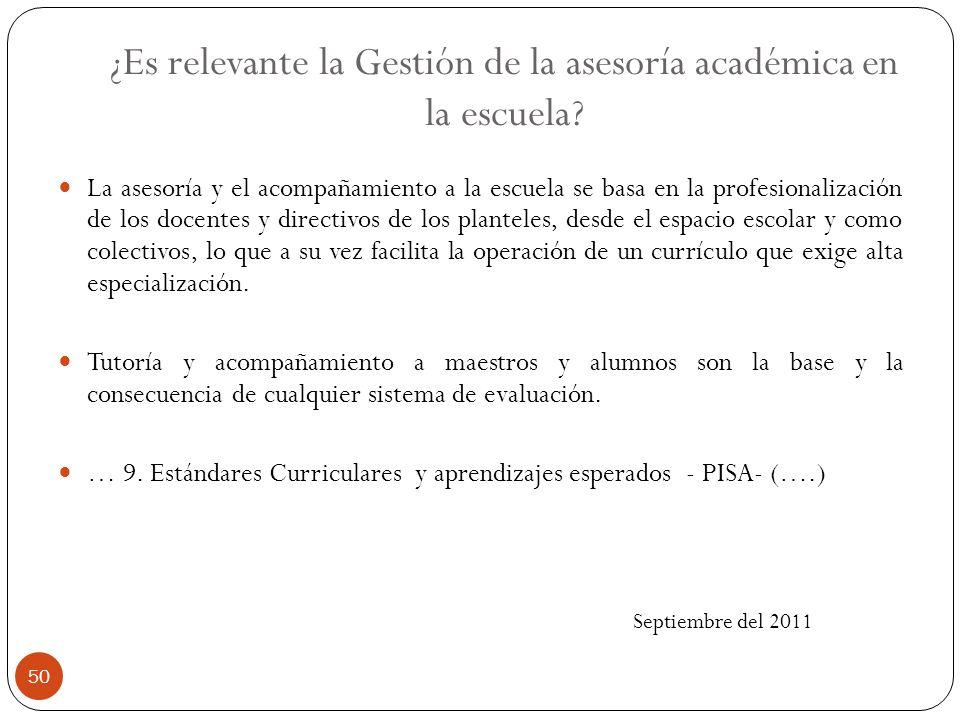 ¿Es relevante la Gestión de la asesoría académica en la escuela