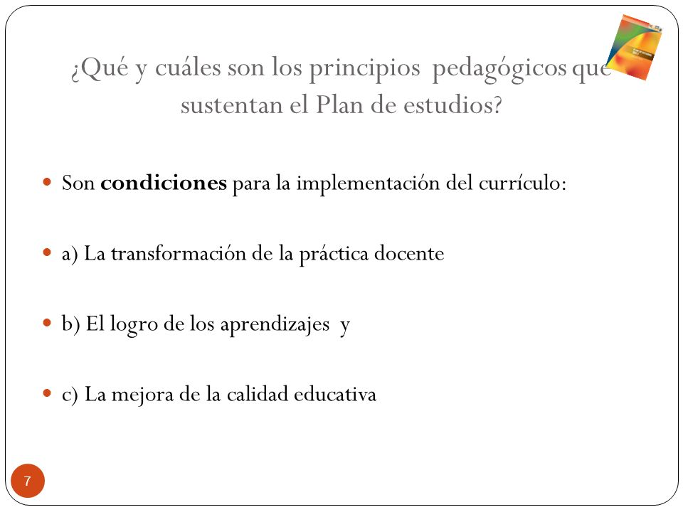 ¿Qué y cuáles son los principios pedagógicos que sustentan el Plan de estudios