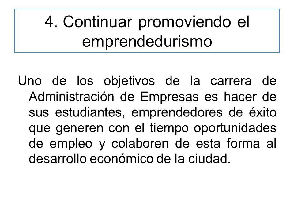 4. Continuar promoviendo el emprendedurismo