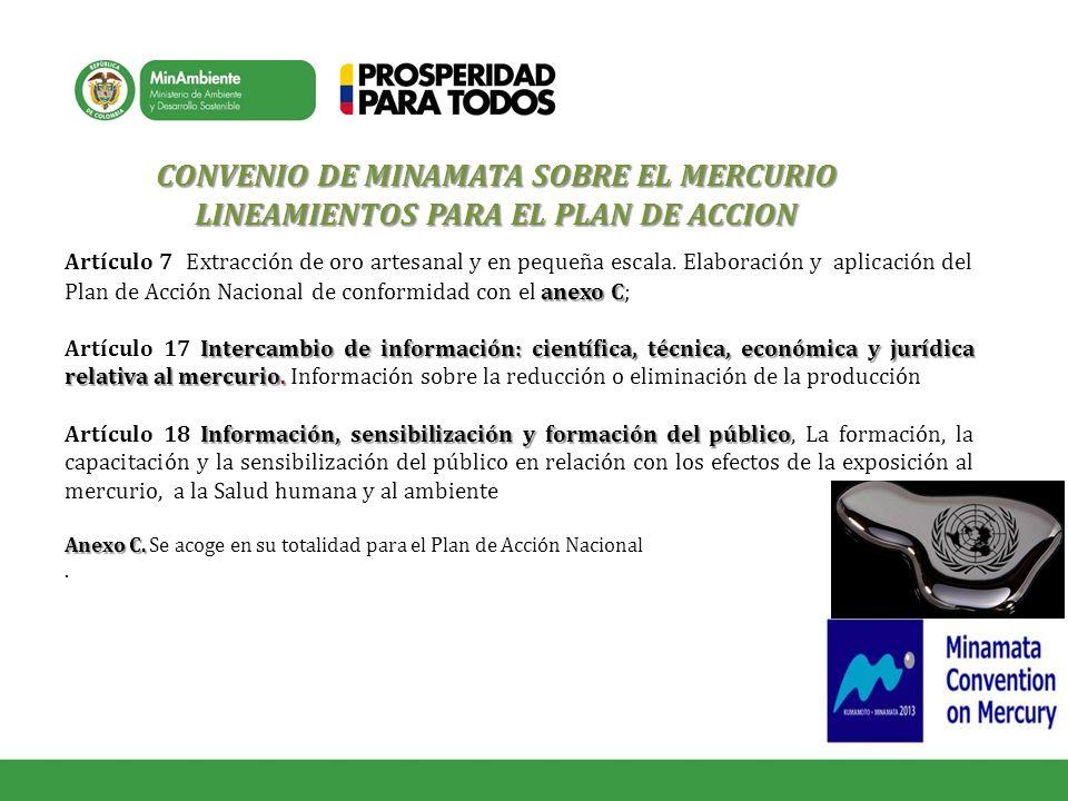 CONVENIO DE MINAMATA SOBRE EL MERCURIO LINEAMIENTOS PARA EL PLAN DE ACCION