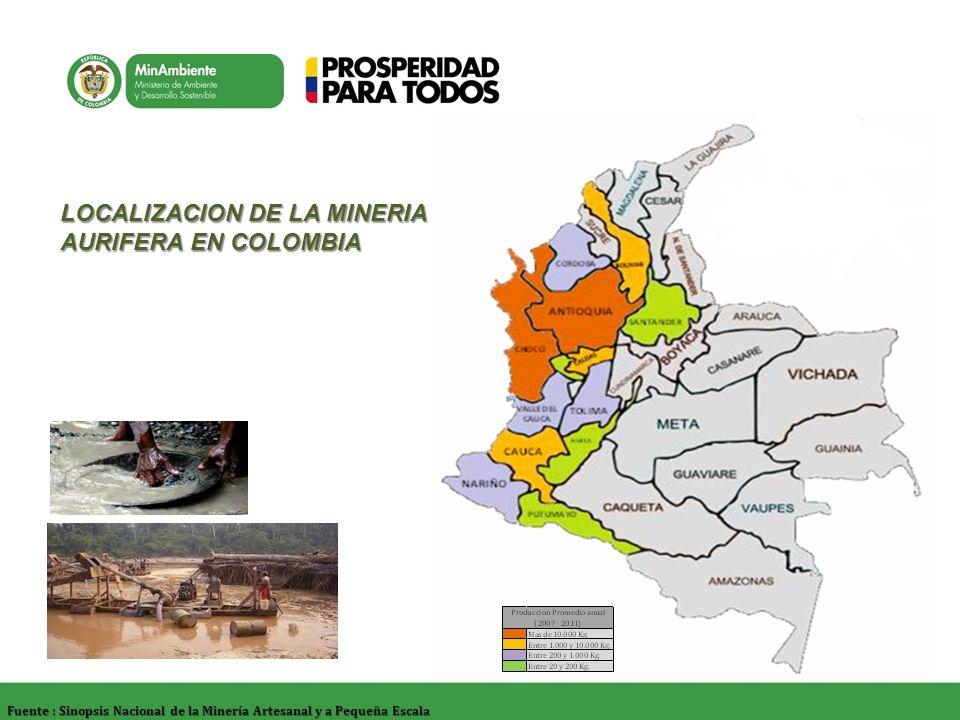 LOCALIZACION DE LA MINERIA AURIFERA EN COLOMBIA