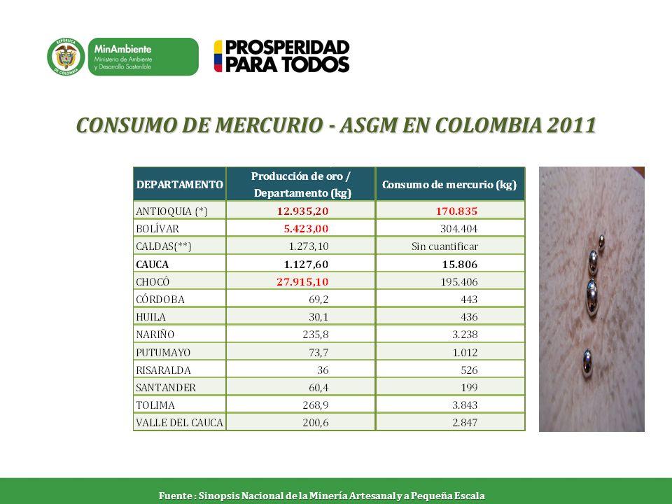 CONSUMO DE MERCURIO - ASGM EN COLOMBIA 2011
