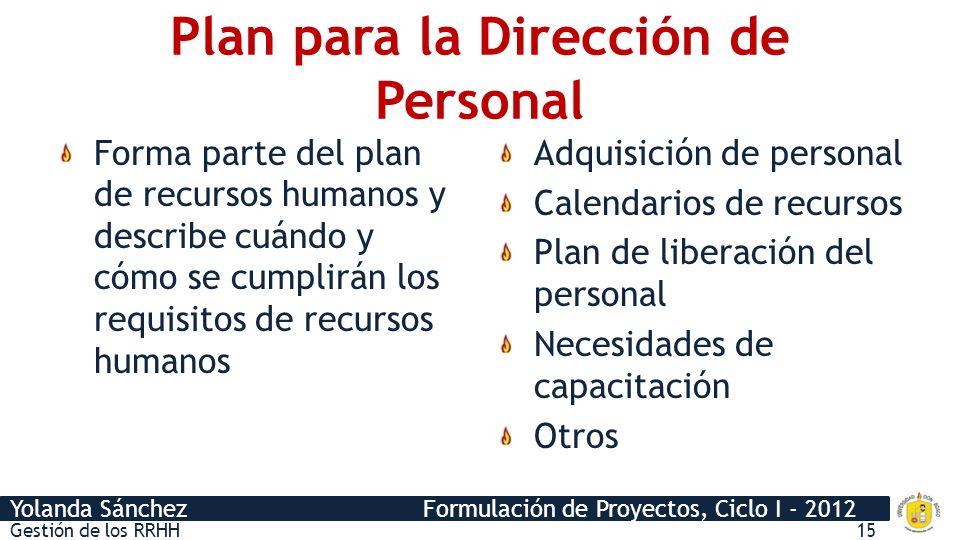 Plan para la Dirección de Personal