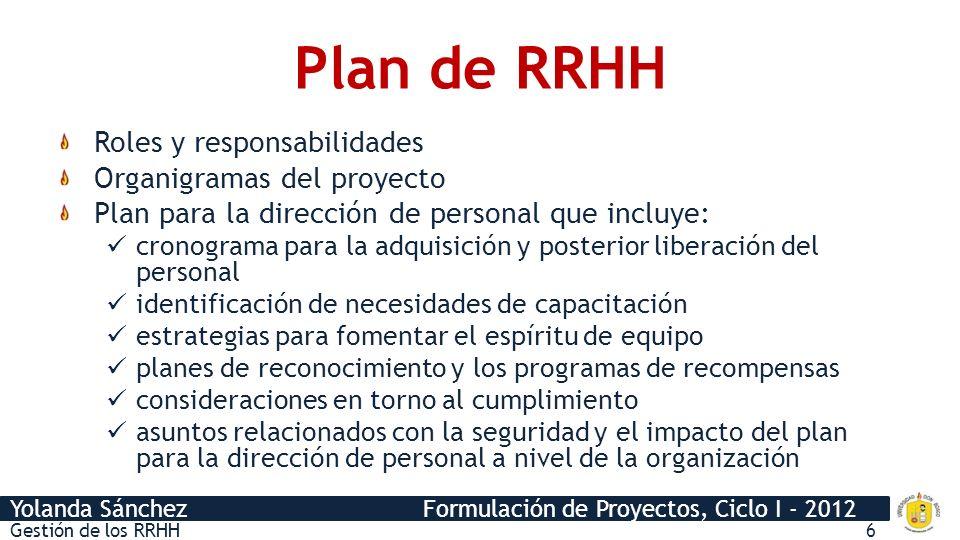Plan de RRHH Roles y responsabilidades Organigramas del proyecto