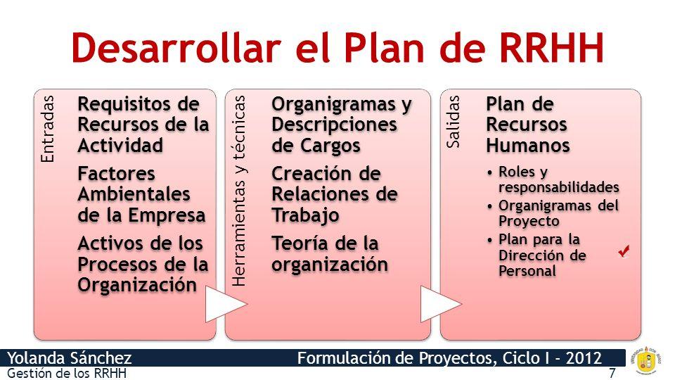 Desarrollar el Plan de RRHH