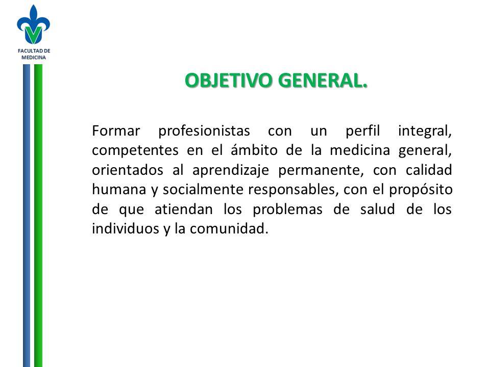 FACULTAD DE MEDICINA OBJETIVO GENERAL.