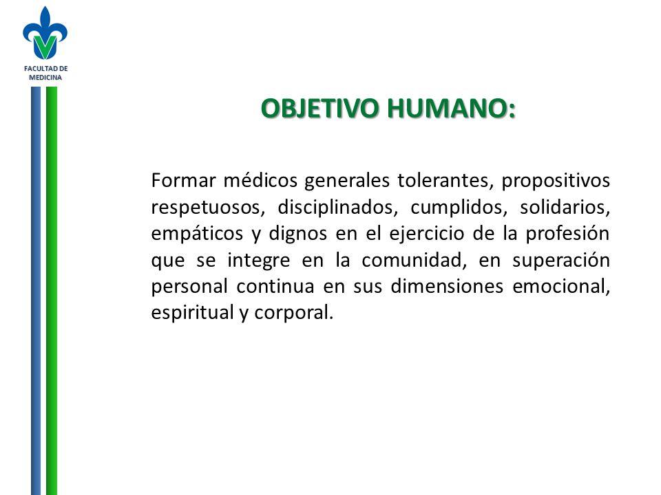 FACULTAD DE MEDICINA OBJETIVO HUMANO: