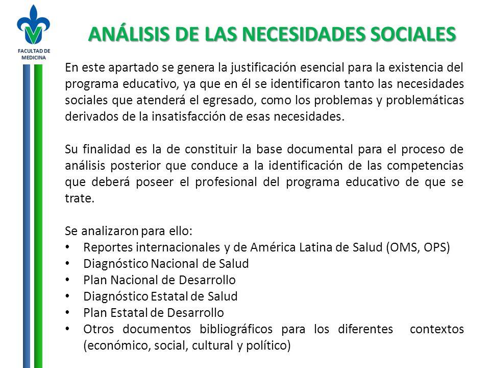 ANÁLISIS DE LAS NECESIDADES SOCIALES