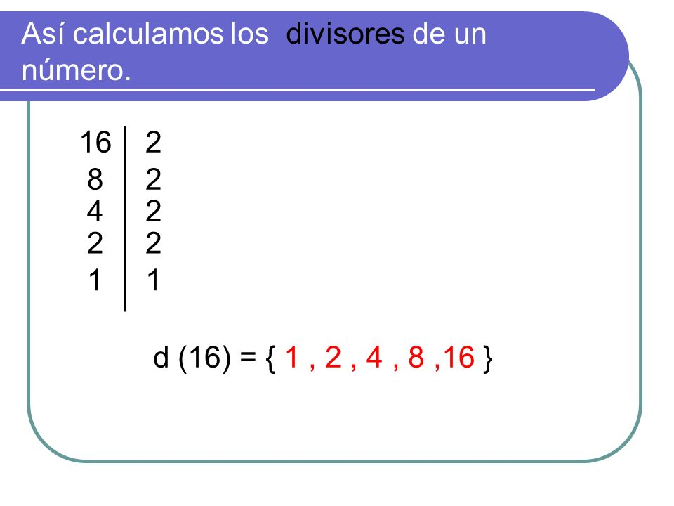 Así calculamos los divisores de un número.