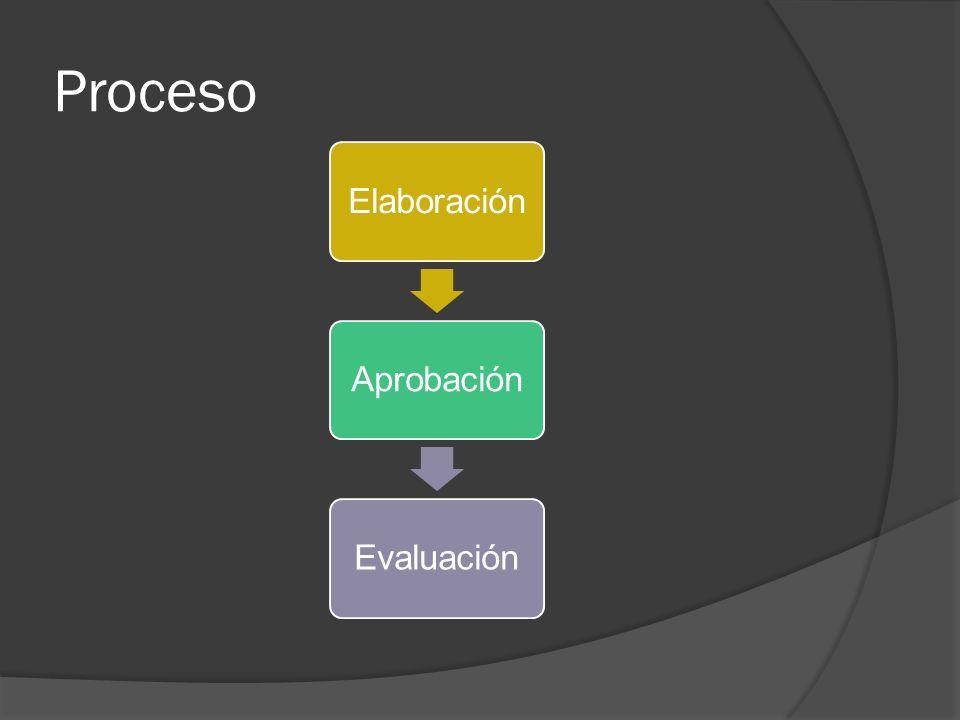 Proceso Elaboración Aprobación Evaluación