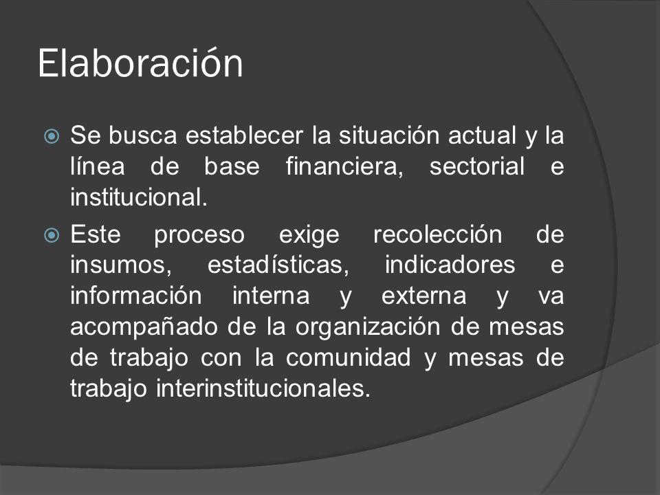 Elaboración Se busca establecer la situación actual y la línea de base financiera, sectorial e institucional.