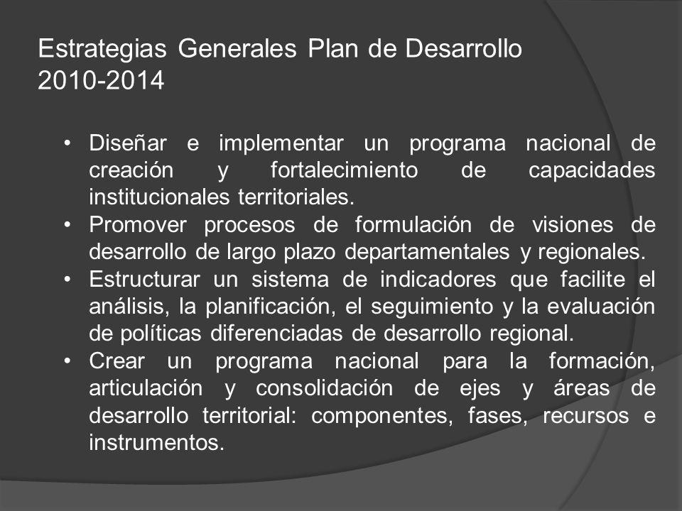 Estrategias Generales Plan de Desarrollo 2010-2014