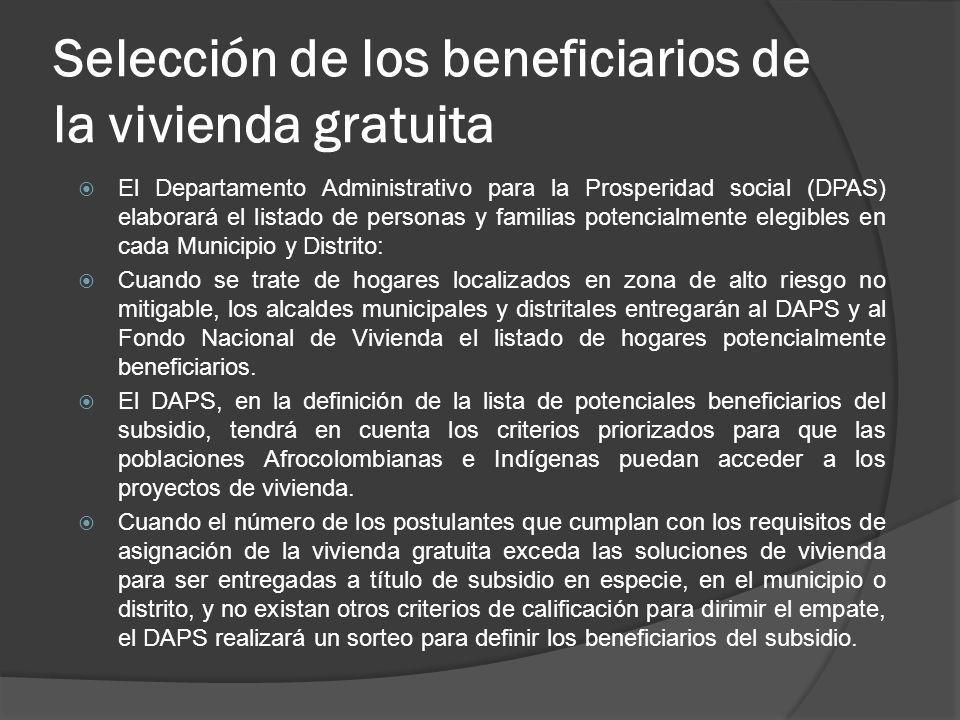 Selección de los beneficiarios de la vivienda gratuita