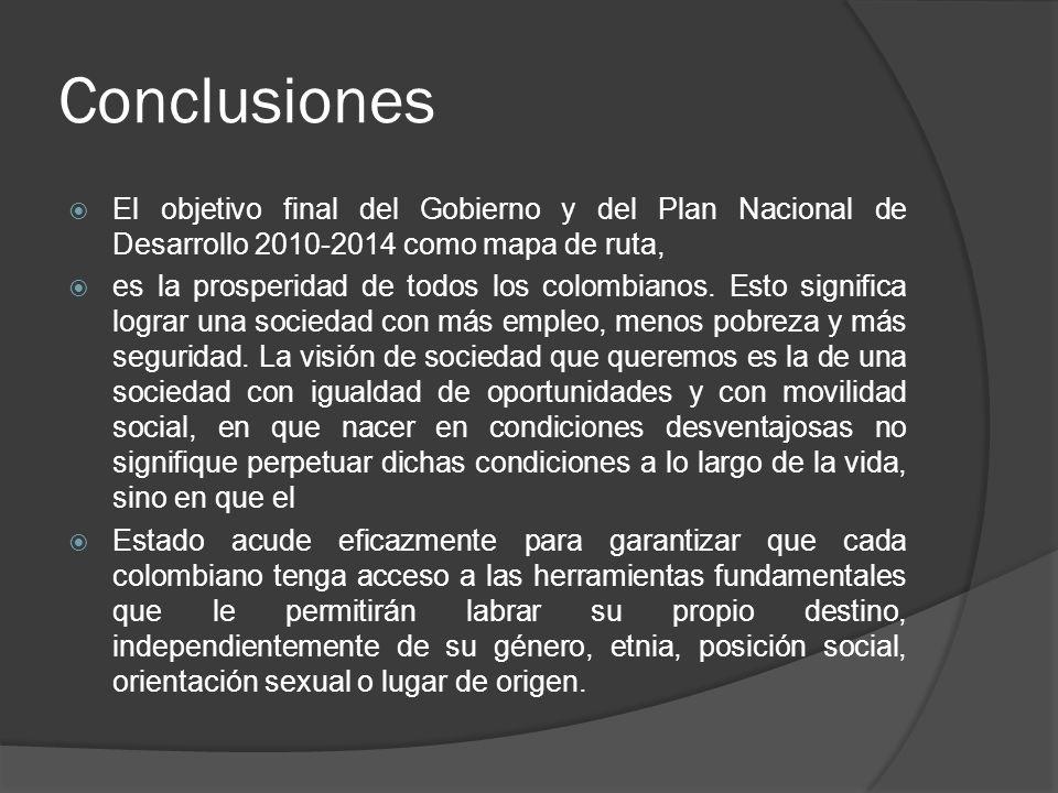Conclusiones El objetivo final del Gobierno y del Plan Nacional de Desarrollo 2010-2014 como mapa de ruta,