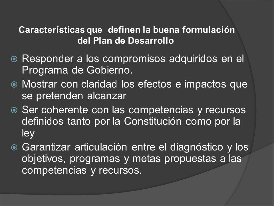 Características que definen la buena formulación del Plan de Desarrollo