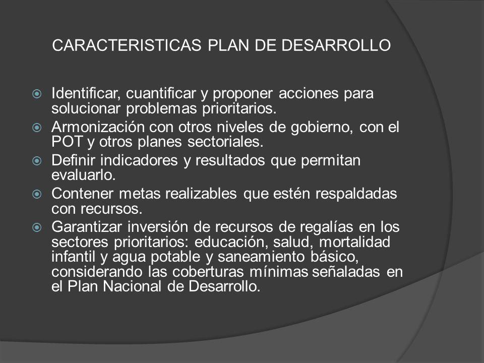 CARACTERISTICAS PLAN DE DESARROLLO