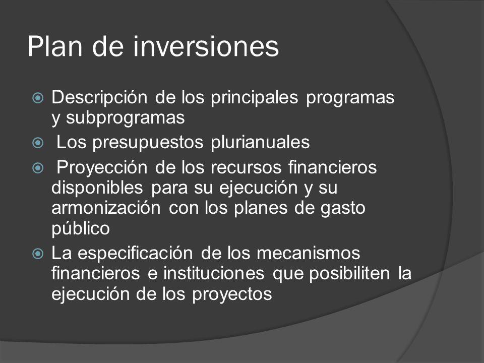 Plan de inversiones Descripción de los principales programas y subprogramas. Los presupuestos plurianuales.