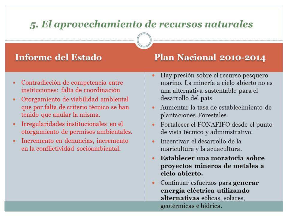 5. El aprovechamiento de recursos naturales