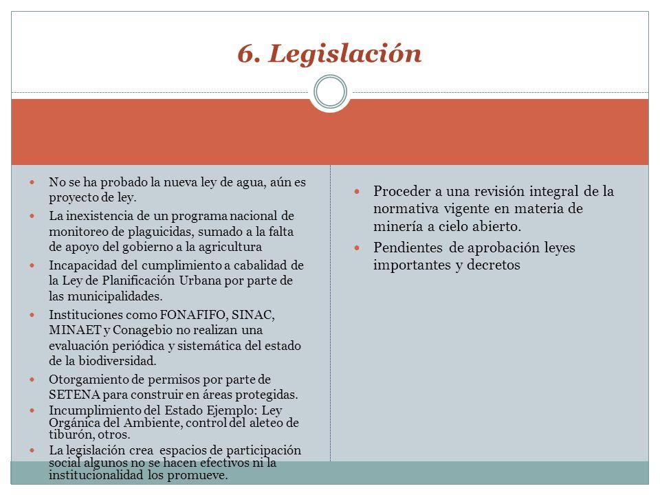 6. Legislación No se ha probado la nueva ley de agua, aún es proyecto de ley.
