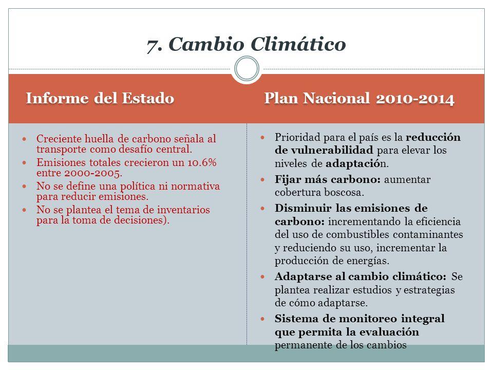 7. Cambio Climático Informe del Estado Plan Nacional 2010-2014