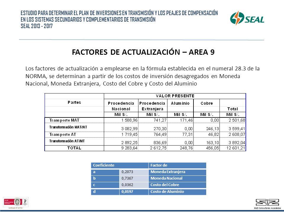 FACTORES DE ACTUALIZACIÓN – AREA 9