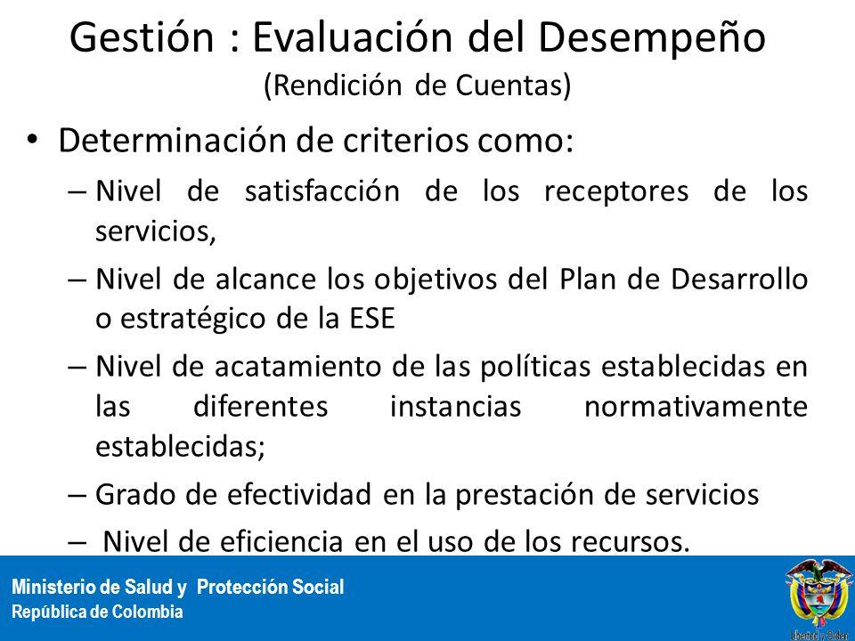 Gestión : Evaluación del Desempeño (Rendición de Cuentas)