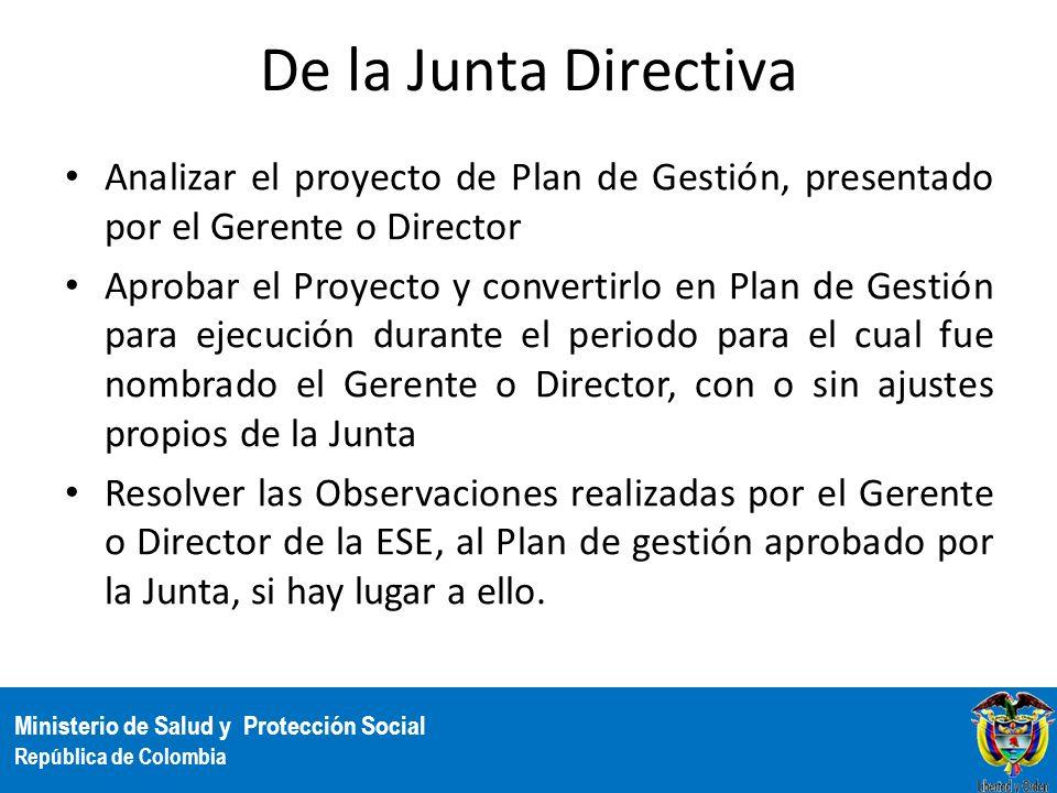 De la Junta DirectivaAnalizar el proyecto de Plan de Gestión, presentado por el Gerente o Director.