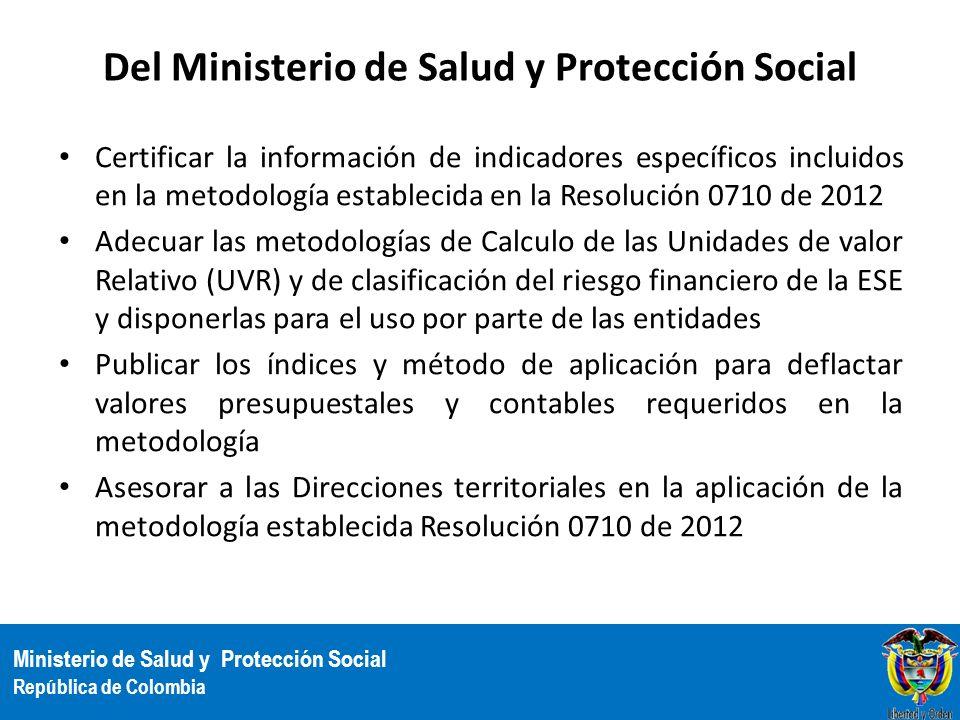 Del Ministerio de Salud y Protección Social