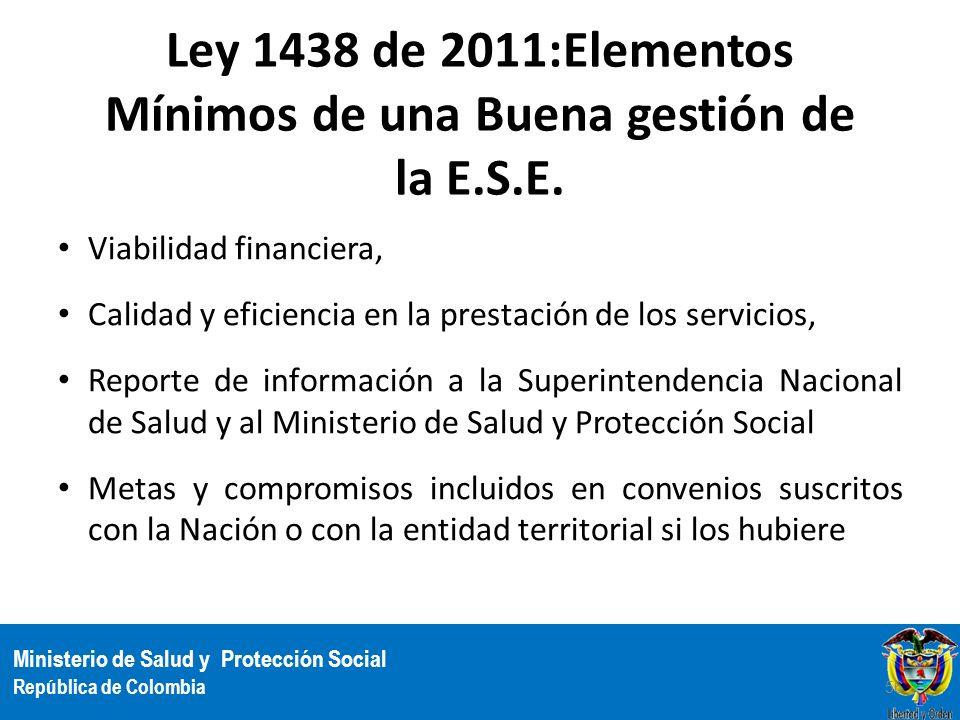 Ley 1438 de 2011:Elementos Mínimos de una Buena gestión de la E.S.E.