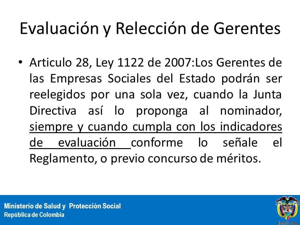 Evaluación y Relección de Gerentes