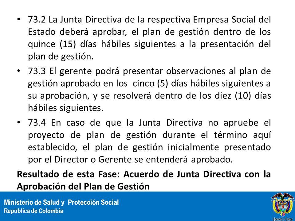 73.2 La Junta Directiva de la respectiva Empresa Social del Estado deberá aprobar, el plan de gestión dentro de los quince (15) días hábiles siguientes a la presentación del plan de gestión.