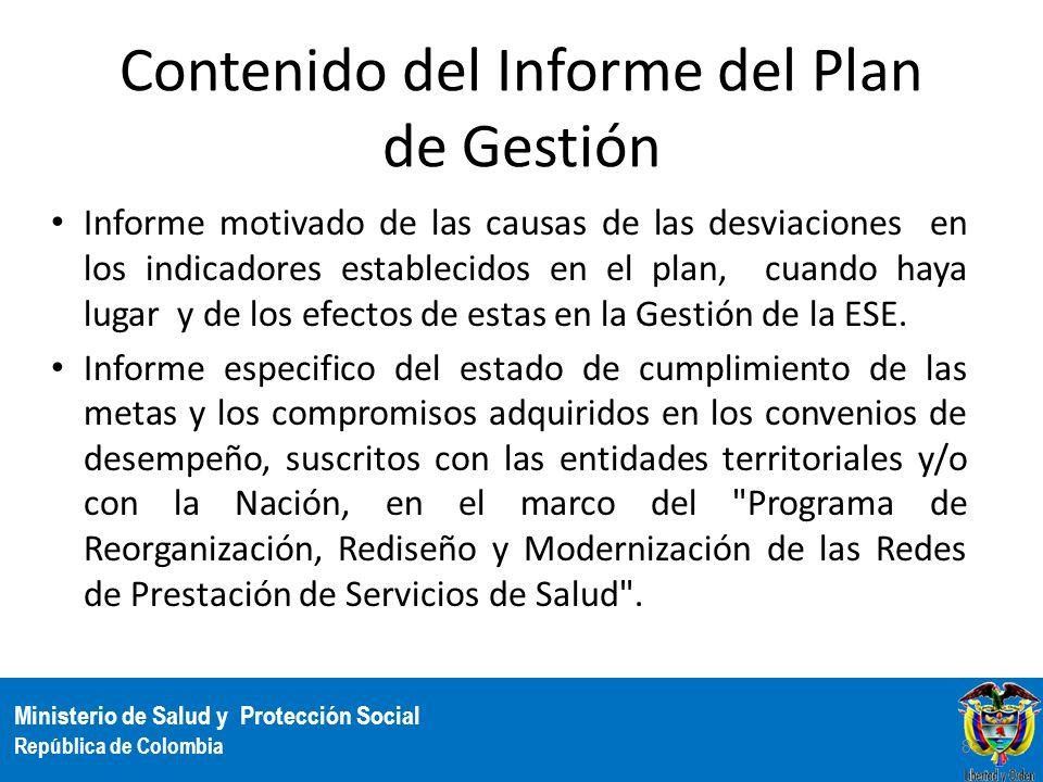 Contenido del Informe del Plan de Gestión
