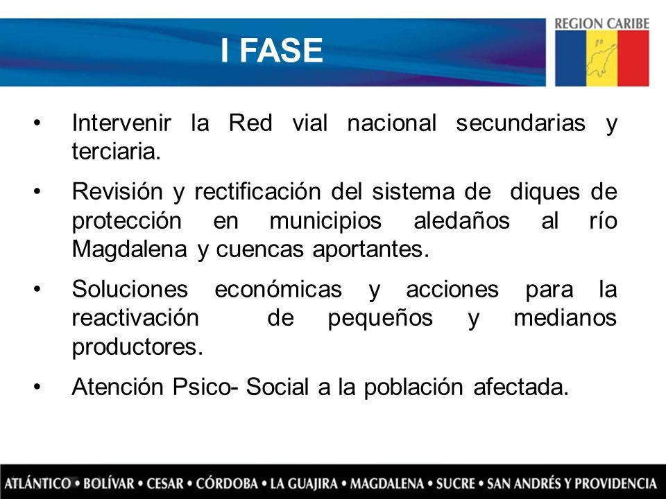 I FASE Intervenir la Red vial nacional secundarias y terciaria.