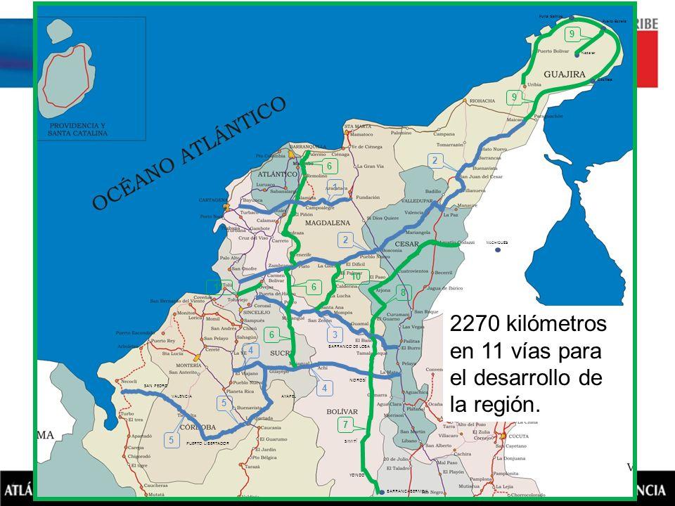 2270 kilómetros en 11 vías para el desarrollo de la región.