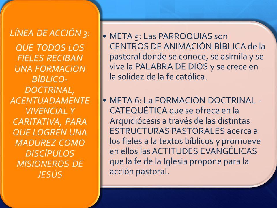 QUE TODOS LOS FIELES RECIBAN UNA FORMACION BÍBLICO-DOCTRINAL, ACENTUADAMENTE VIVENCIAL Y CARITATIVA, PARA QUE LOGREN UNA MADUREZ COMO DISCÍPULOS MISIONEROS DE JESÚS