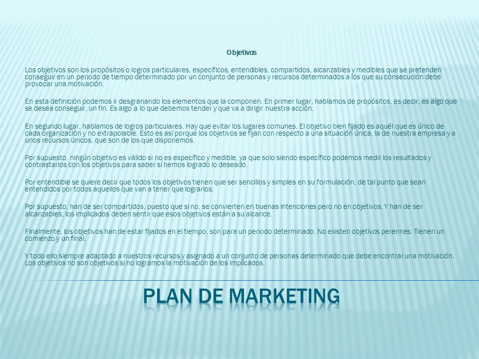 plan de marketing Objetivos