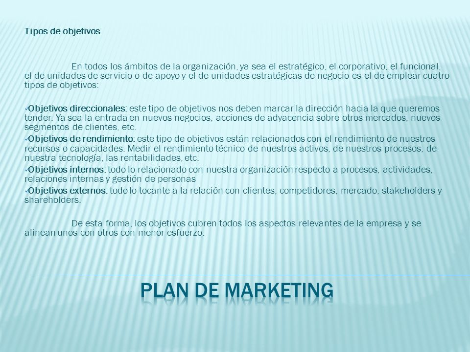 plan de marketing Tipos de objetivos
